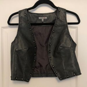 Faux Leather Studded Crop Vest